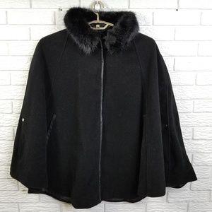 CJ Banks Winter Cape 2X Black WOOL Faux Fur NEW